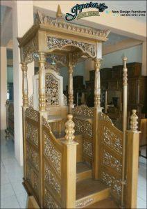 Mimbar Masjid Ukiran MP-001, Podium Masjid, Mimbar Masjid Baru