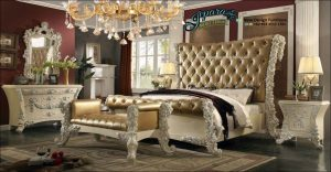 Set Kamar Tidur Mewah Ukiran Klasik Modern Hauraa STT-087, Kamar Set Mewah, 1 Set Kamar Tidur, Dipan Ukiran