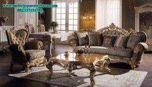 Set Sofa Ruang Tamu Klasik Duco Mewah Ukiran Jepara Model Eropa SST-148