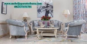 sofa tamu mewah modern model kekinian duco putih SST-149