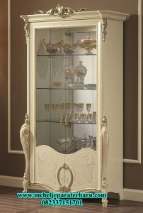 lemari hias kaca duco putih model mewah modern lh-022