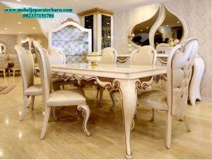 set meja makan safira, set meja makan mewah, set meja makan klasik, set meja makan modern, set meja makan model terbaru, set meja makan jepara, set meja makan duco, kursi makan, set kursi makan mewah