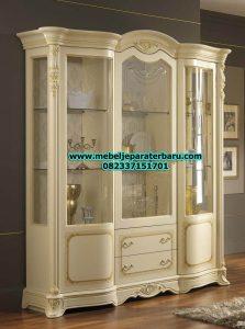 lemari kristal duco putih klasik minimalis phasa jepara model terbaru lh-028