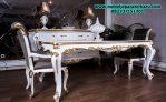 model set meja makan klasik calista duco putih model mewah modern terbaru smm-145