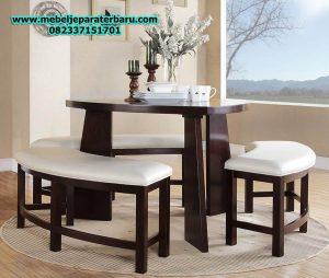 set meja makan unik minimalis modern mewah model terbaru jepara smm-144
