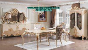 1 set meja makan klasik mewah modern model eropa terbaru ukiran jepara smm-149