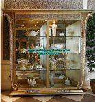 jual lemari kristal klasik mewah gold ukiran jepara model terbaru modern lh-031