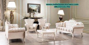 jual set sofa tamu modern klasik mewah duco putih model terbaru sst-168