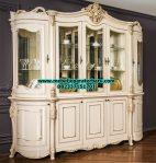 lemari kristal 5 pintu klasik duco putih ukiran jepara model terbaru lh-030