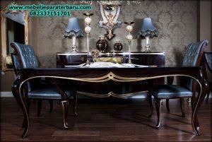 set meja makan klasik mewah hitam duco modern model terbaru smm-146