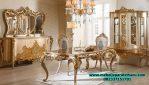 set meja makan model mewah klasik gold terbaru smm-156