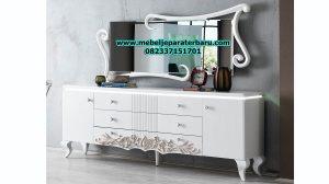 set meja konsul minimalis modern mewah duco putih model terbaru mrk-110