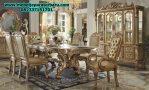 set meja makan klasik gold model terbaru 6 kursi smm-157