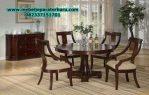 set meja makan klasik minimalis bundar model terbaru smm-169