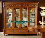 lemari kristal mewah klasik jati model terbaru lh-037