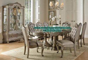 model set meja makan klasik silver terbaru smm-204