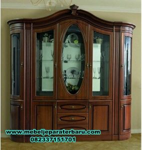 lemari hias 5 pintu klasik jati terbaru, lemari hias, lemari kristal, lemari hias klasik, lemari hias kaca, lemari hias modern