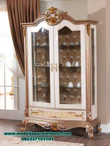 lemari kristal hias mewah klasik terbaru, lemari kristal, lemari hias klasik, lemari hias kaca, lemari hias modern