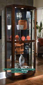 lemari kristal minimalis model klasik jati, lemari hias, lemari kristal, lemari hias klasik, lemari hias kaca, lemari hias modern