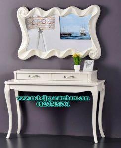 meja konsul dan pigura modern mewah, harga meja konsul jepara