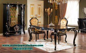 meja kursi makan hitam klasik mewah, set meja makan, set meja makan klasik, set meja makan mewah, set meja makan modern, set meja makan duco