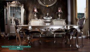 set meja makan klasik silver 6 kursi mewah, meja makan kayu, meja makan klasik mewah, meja makan mewah minimalis, meja kursi makan terbaru, model kursi makan terbaru, set meja makan modern, harga meja makan mewah, meja makan mewah modern