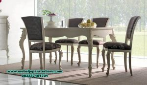 set meja makan modern klasik duco putih smm-278