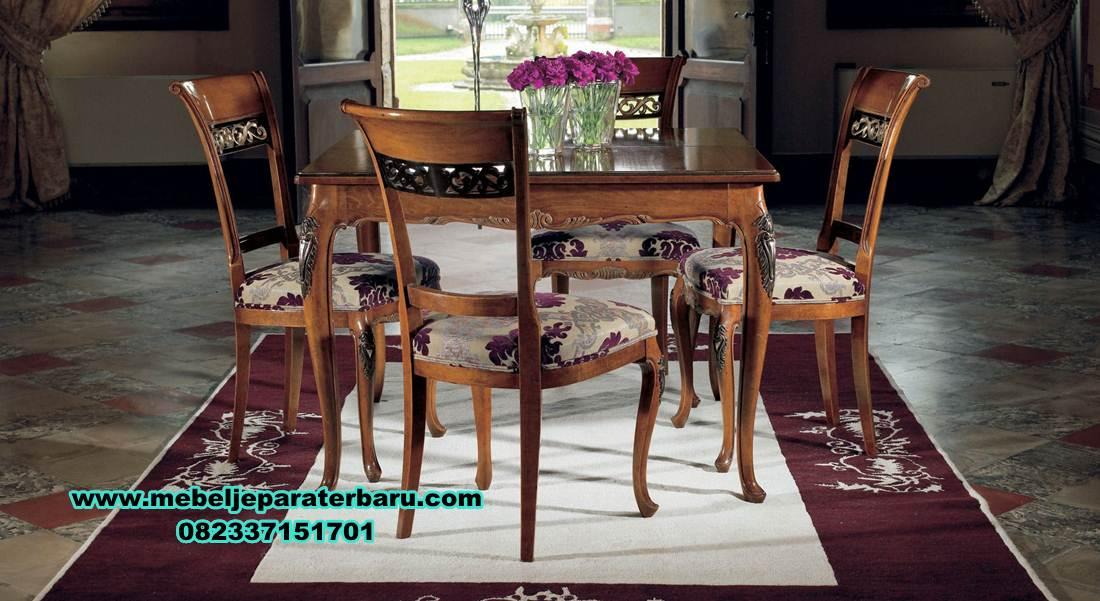 meja makan minimalis modern, satu set meja makan 4 kursi klasik jati, set meja makan jati, meja makan kayu, meja makan klasik mewah, meja makan mewah minimalis, model kursi makan terbaru