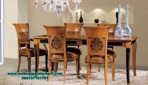 satu set meja makan 6 kursi minimalis jati smm-300