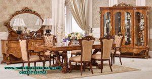 gambar meja makan klasik model terbaru, set meja makan model terbaru, gambar meja makan, model set meja makan, meja kursi makan klasik, harga meja makan mewah, set meja makan duco