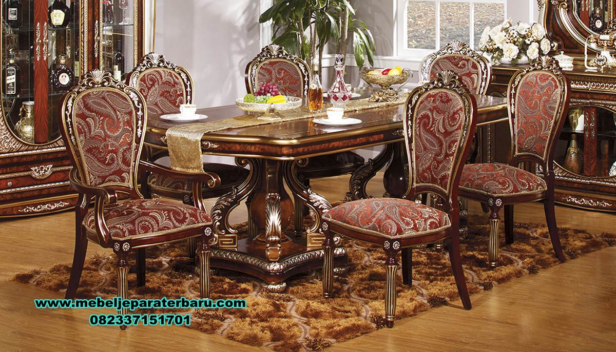 meja makan klasik, meja makan klasik jati terbaru wasil, set kursi makan, set meja makan jati, meja makan kayu, meja makan klasik mewah, gambar meja makan, ukuran meja makan