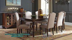 meja makan jati modern minimalis 6 kursi smm-326