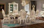 Meja makan set klasik mewah ganesha duco ivory Smm-341