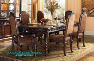 Meja makan set jati Jepara ukiran klasik untir lamp Smm-347
