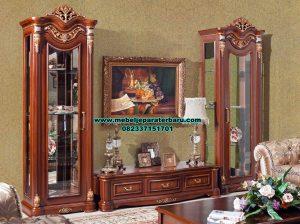 Set bufet tv klasik mewah kayu jati madame Bt-190