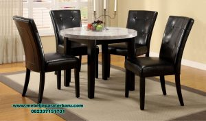 Set kursi makan bulat marmer modern america style Smm-364