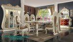 Set meja makan dining table termewah duco putih Smm-369