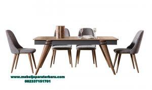 model meja makan modern minimalis jati natural verion smm-376