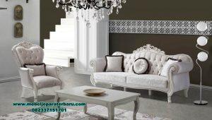 Model kursi sofa tamu klasik modern duco putih Stst-391