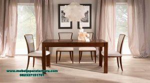 jual set meja makan kayu jati model minimalis varia smm-394