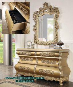 model set meja konsul rias mewah glamour gold duco mrk-190
