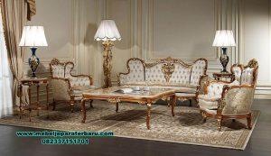 inspirasi set sofa ruang tamu mewah kayu jati sst-442