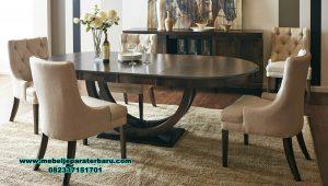 set meja kursi makan modern jati perhutani smm-431