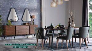 set meja makan minimalis kayu jati vintage smm-430