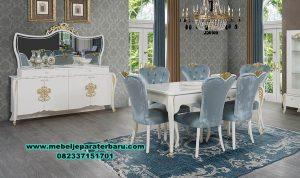 Ukuran set meja makan mewah modern duco blue saphire Smm-449