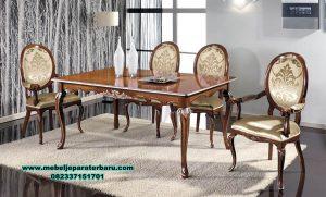 Set meja makan klasik kayu jati aran Smm-351