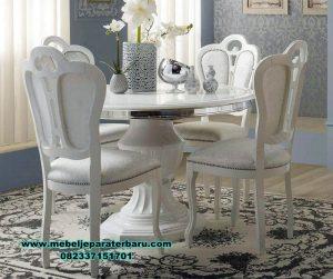 set meja makan bulat duco putih 4 kursi kayu kualitas smm-360