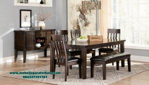 set meja makan minimalis jari kayu jati smm-356