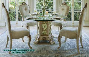 set meja makan kaca 4 kursi mewah modern champ smm-375