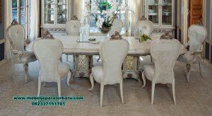 set meja makan putih duco ukiran mewah modern belinda smm-374